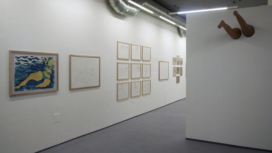 Expozice v NoD plynule přechází z ulice přes kavárnu do galerie. Kresby a fotografie propojují instalované plastiky.