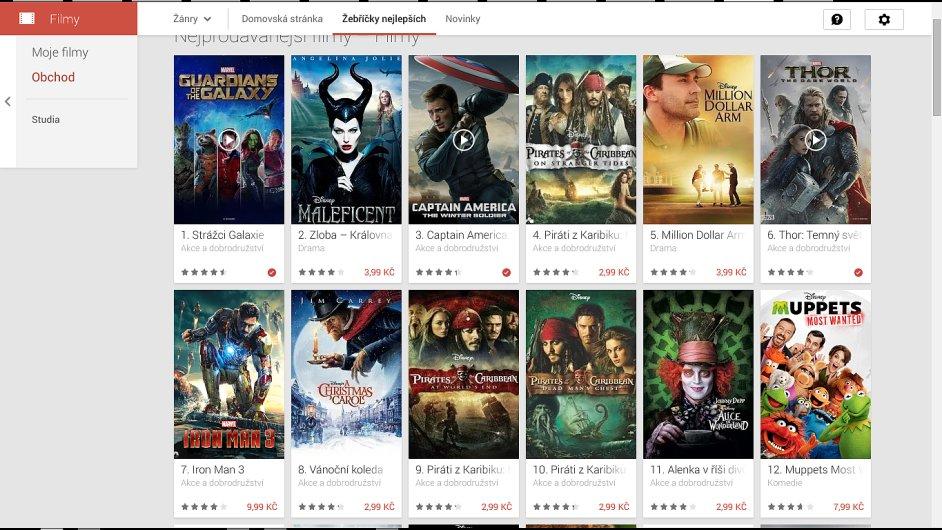 Nabídka filmů Google Play s chybnými cenami