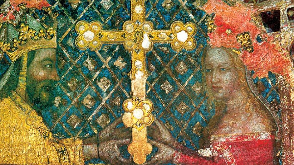Karel IV. (na obraze se svojí třetí manželkou a matkou následníka Václava Annou Svídnickou) se v domácí politice opíral o církev, která vlastnila třetinu země.