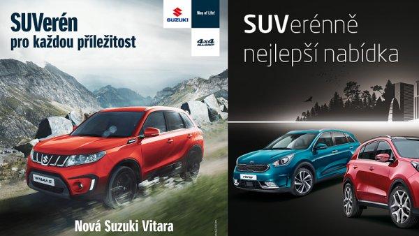 Kampaně Suzuki (vlevo) a Kia (vpravo)