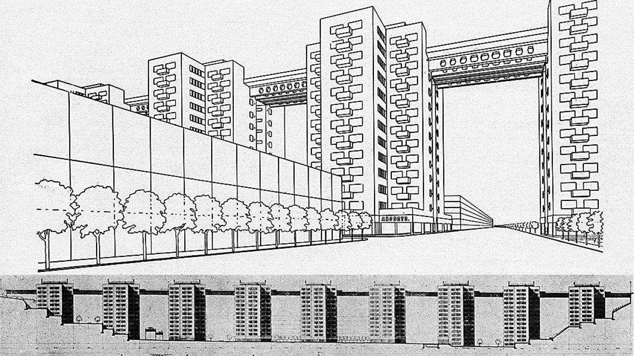 """V rámci soutěže v letech 1926–1927 se objevil dokonce návrh """"prohnat"""" Nuselský most skrze sérii devíti věžových obytných domů."""