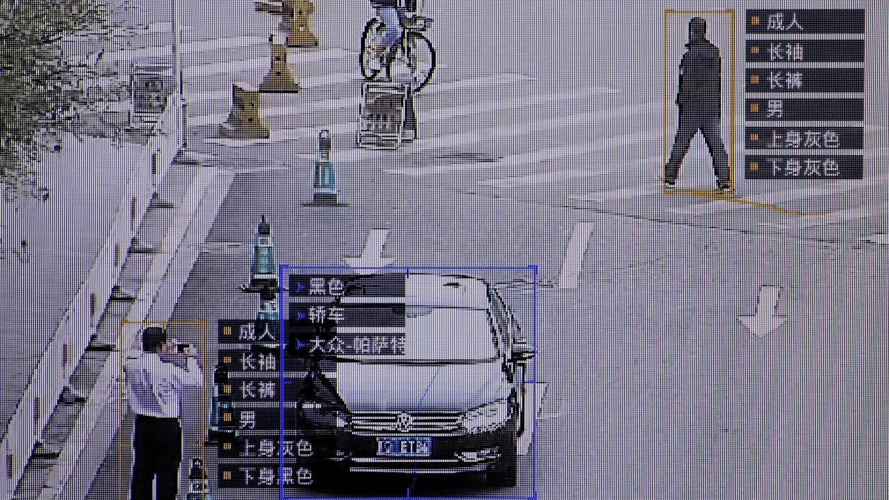 Sledování vreálném čase. Software firmy SenseTime sleduje pohyby lidí, dokáže rozpoznávat jejich obličeje iregistrační značky aut asbírá idalší údaje.