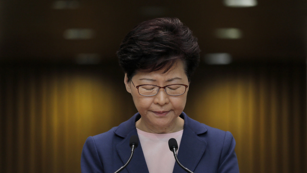 Hong Kong Chief Executive Carrie Lam pauses during a press conference in Hong Kong