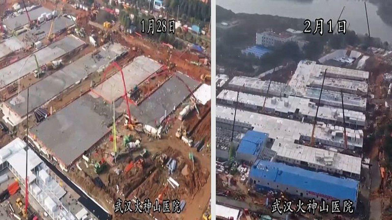Takhle vznikla nemocnice ve Wu-chanu: Záběry ukazují nepřetržitou práci dělníků.