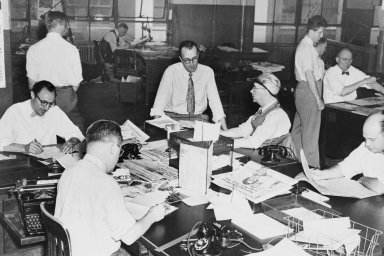 Redaktoři World-Telegramu, New York, květen 1949.