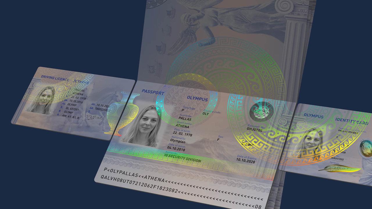 Hlavními prvky ochrany jsou holografické obrazce, které jsou viditelné při osvícení askládají se zkovových aprůhledných částí. Výjimečnou ochranu poskytuje návaznost obrazců přes několik dokumentů.