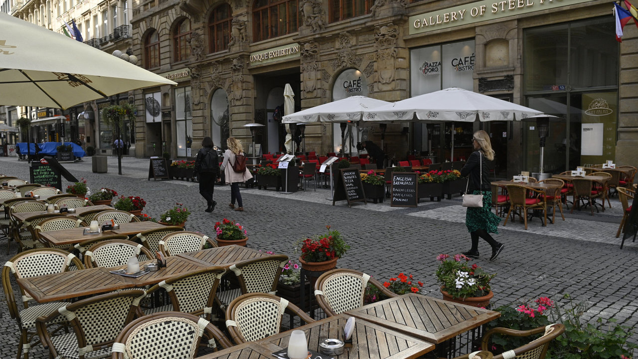 Zahrádky před kavárnami v centru Prahy