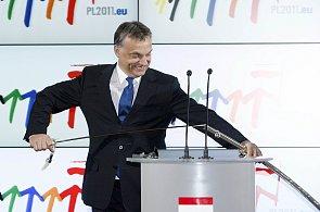 Maďarský premiér Viktor Orbán při předávání předsednictví EU Polákům