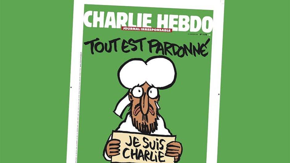 Nová obálka Charlie Hebdo týden po útoku.