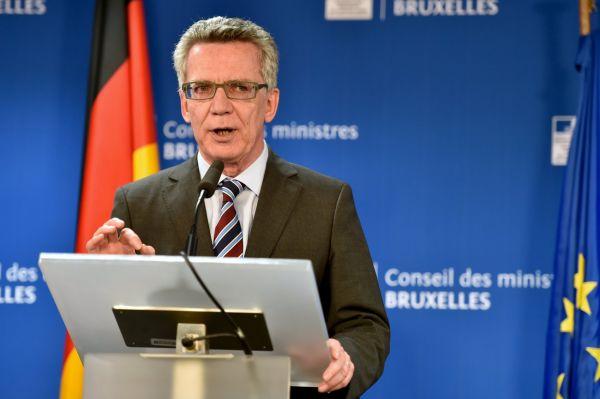 Německý ministr vnitra Thomas de Maizièra na setkání ministrů Evropské unie.