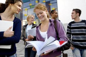 Studenti, studium v zahraničí, studium jazyků, ilustrace
