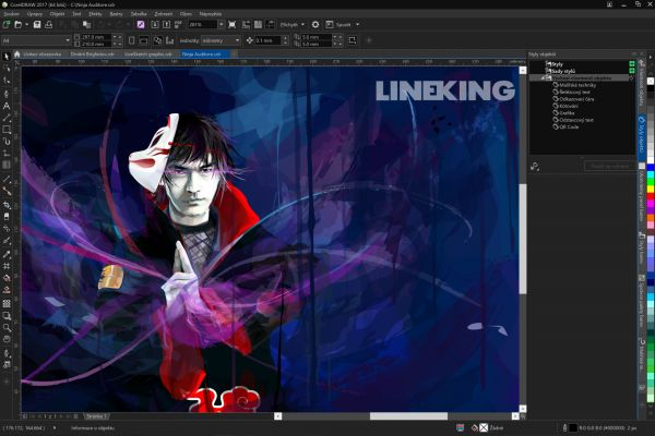 CorelDRAW 2017 Black AI workspace CZ