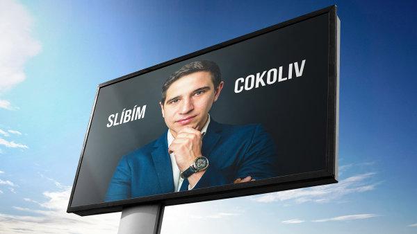 Pózující kandidát, heslo... Moment, ale nebyla to reklama na hodinky?