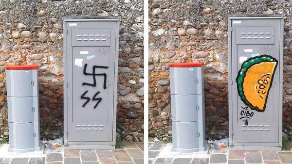 Umělec bojuje proti neonacismu pomocí graffiti. Hákové kříže mění v jídlo.