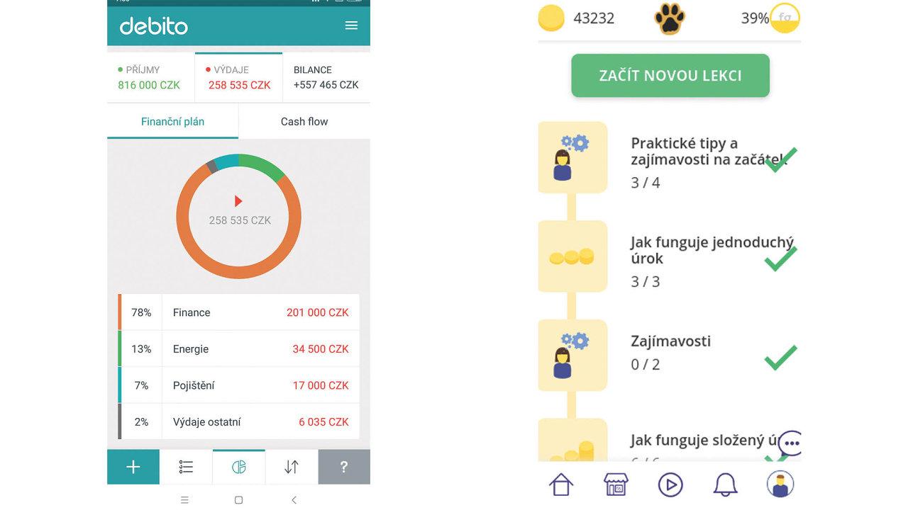 Vlevo mobilní aplikace Debito, vpravo webová aplikace Znám peníze