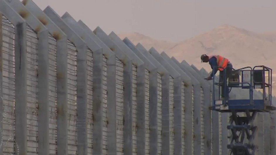 Izraelský plot na hranici s Egyptem