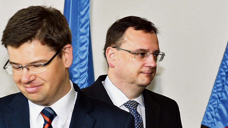 Premiér Petr Nečas, exministr spravedlnosti Jiří Pospíšil