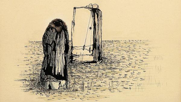 Kresbu k obrazu Sen vytvořila Toyen v roce 1937.