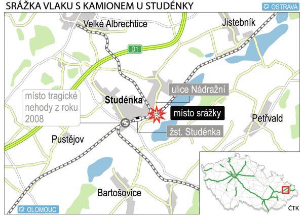 Nehoda, Studénka - mapa