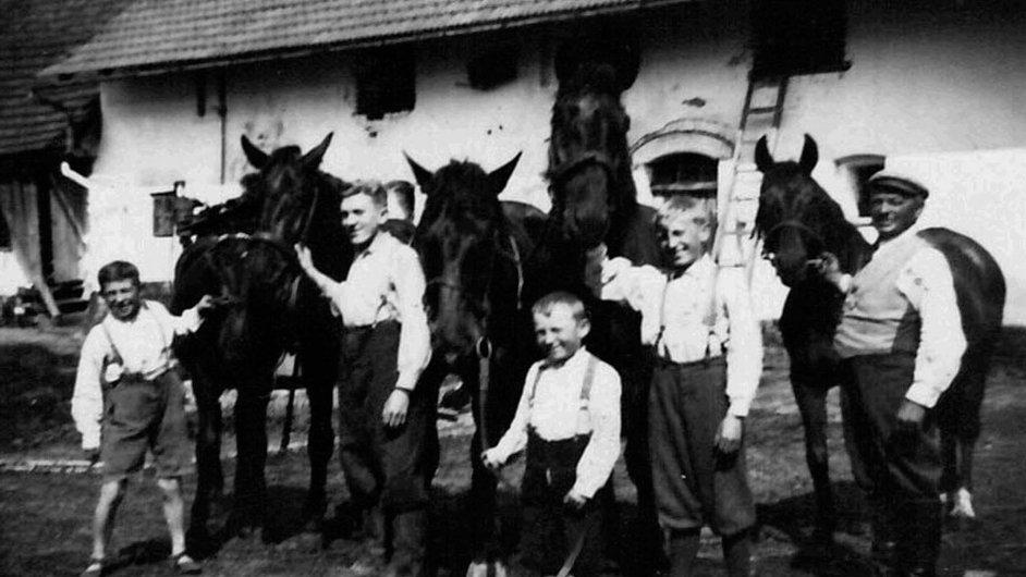Příběhy bezpráví: Rodina Teplých zleva – František, Josef, Jiří, Václav a otec Josef s koňmi, mezi lety 1945 a 1948