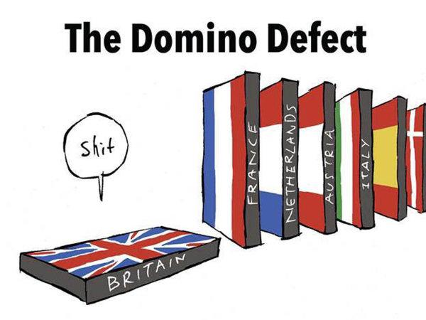 Ilustrátor Thomas Taylor zveřejnil po vítězství Emmanuela Macrona ve francouzských prezidentských volbách mnohokrát sdílený obrázek reagující na obavy, že brexit vyvolá vlnu protievropských nálad.