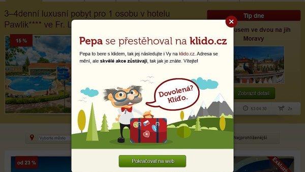 Portál Pepa.cz svůj obsah se slevami přesunul na Klido.cz.