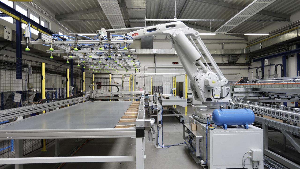 Robotická buňka pro manipulaci splechy dořezacího laserového centra