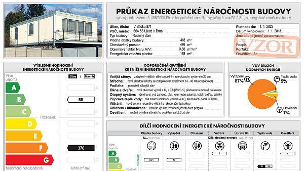 Návrh průkazu energetické náročnosti budovy