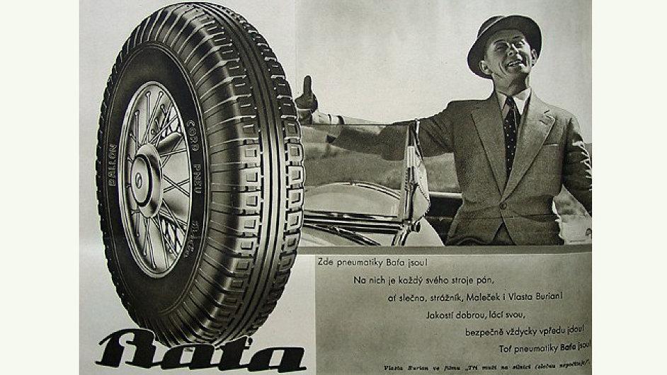 Reklama na pneumatiky s Vlastou Burianem, ilustrační foto