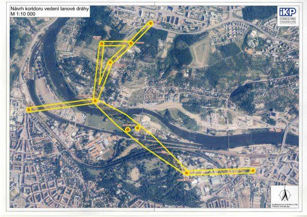 Mapka Prahy s vyznačením koridoru plánované lanovky