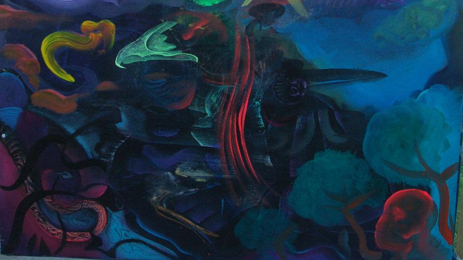 Jeden z vystavených obrazů Otto Placht nazval Ventaron. Je to rozměrný akryl na plátně velikosti 125 x 150 centimetrů.