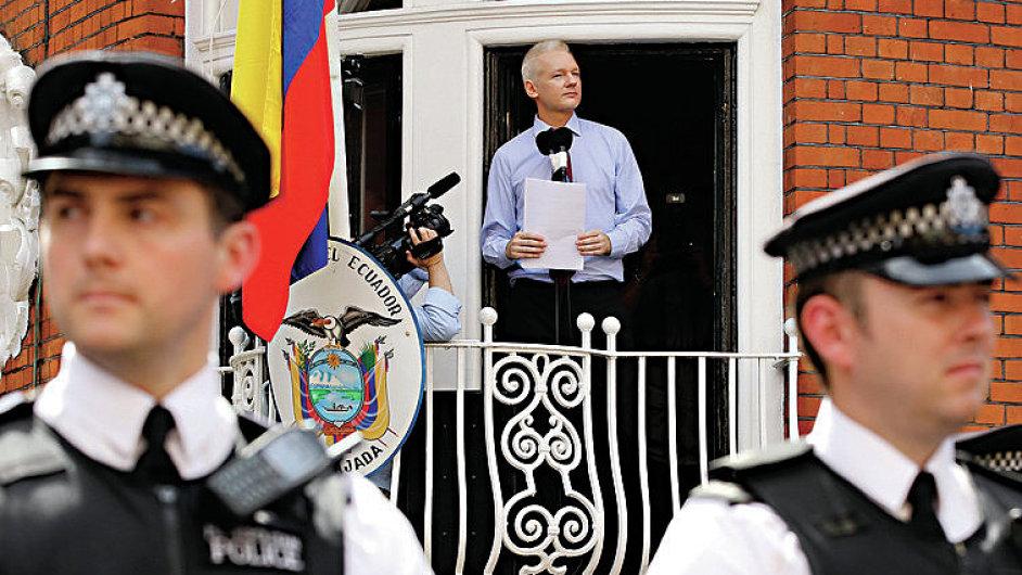 WikiLeaks founder Julian Assange speaks to the media outside the Ecuador embassy in west London August 19
