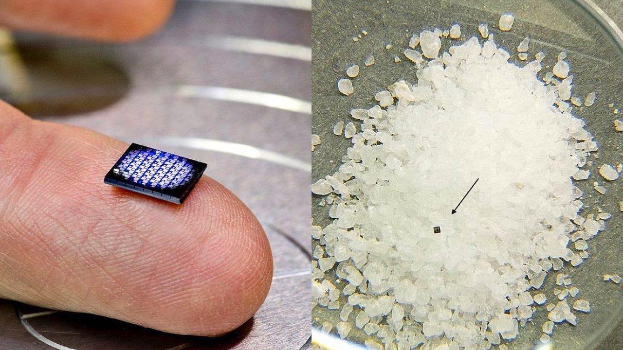 Nejmenší počítač na světě od IBM je menší než zrnko soli – na snímku vlevo je 64 základních desek s procesory, vpravo celý počítač mezi krystaly soli.