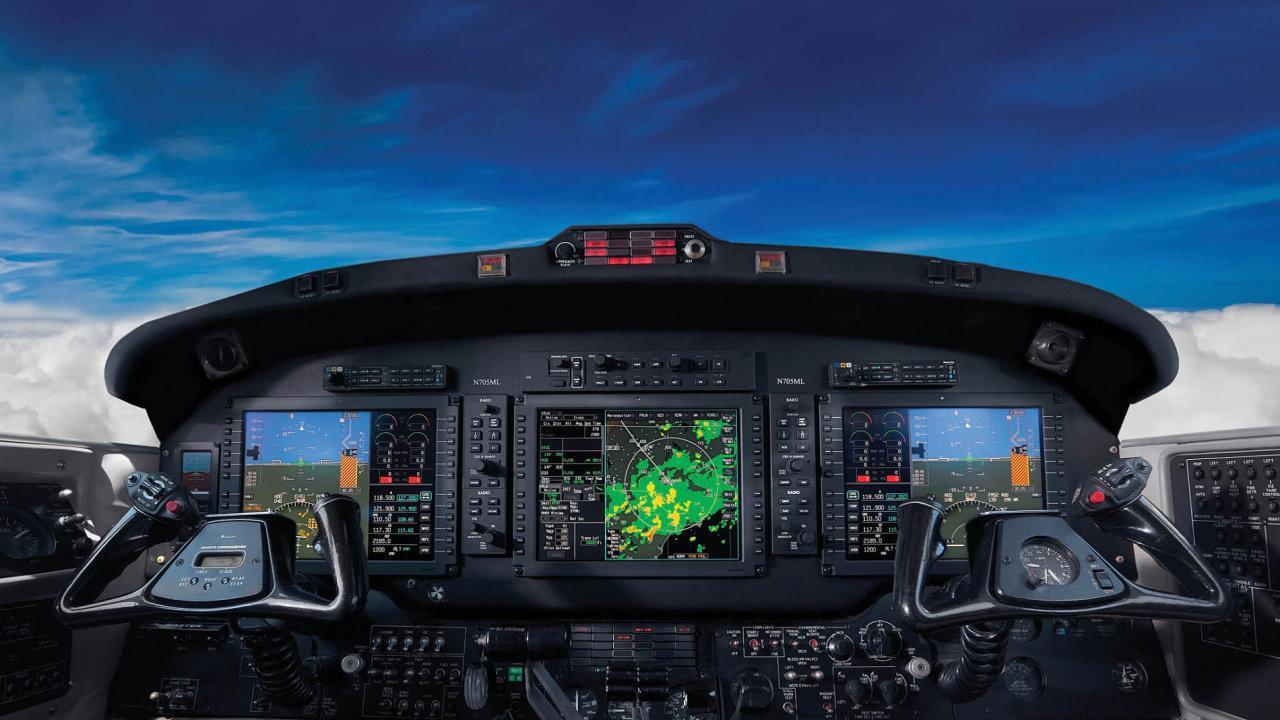 Radar odHoneywellu, sbírá data idíky připojení kinternetu. Pilotovi usnadňuje vyhýbání se bouřkám nebo turbulencím.