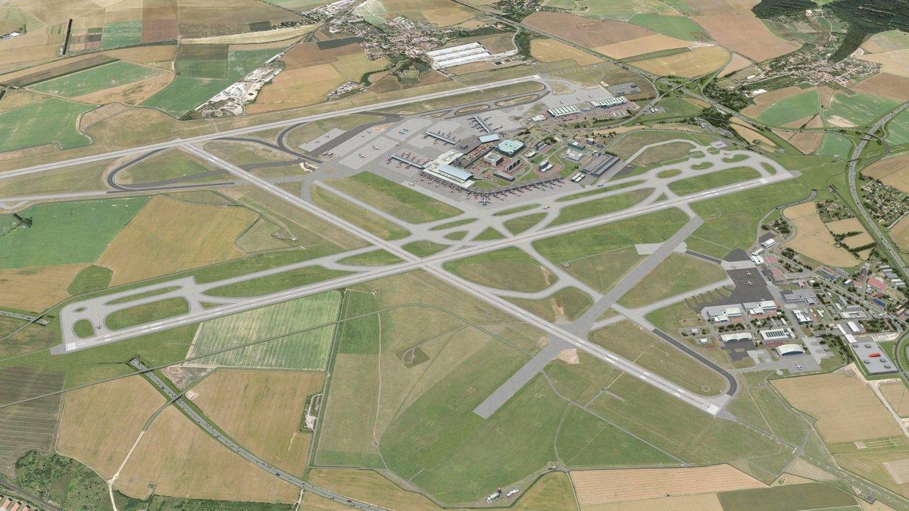 Pražské letiště s plánovanou paralelní dráhou