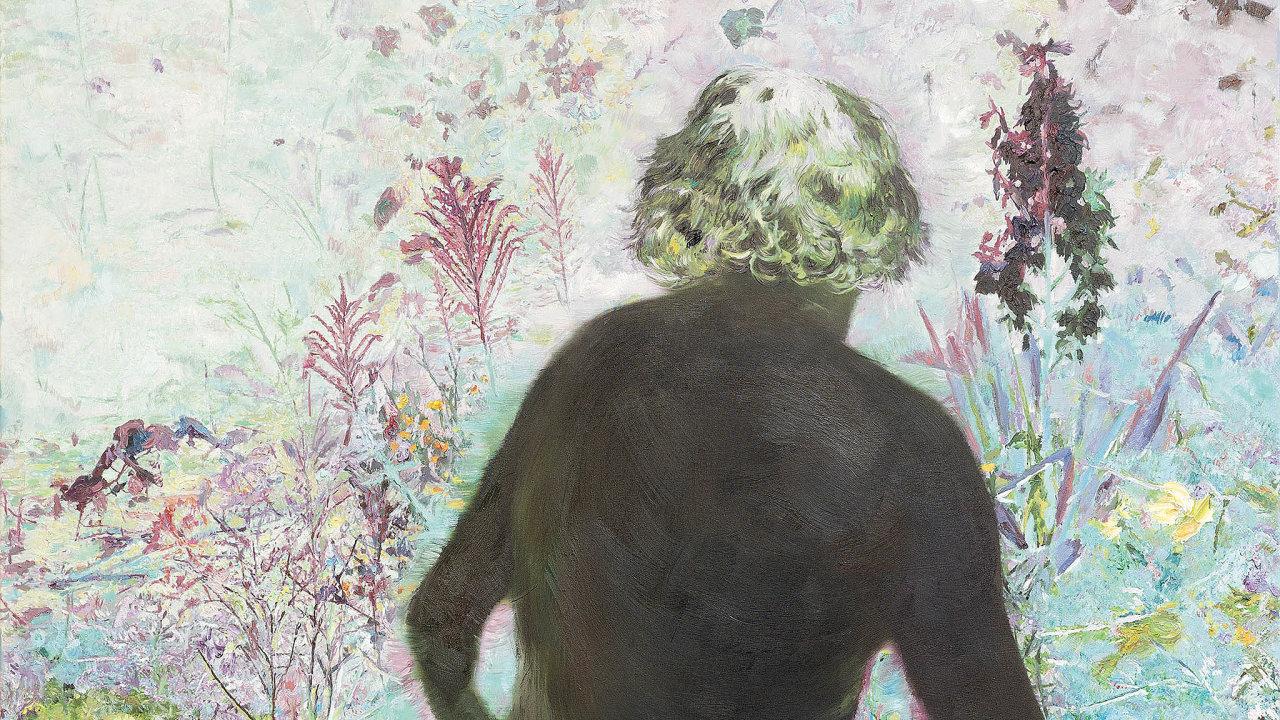 Jeden zklíčových obrazů Jiřího Davida vDoxu se jmenuje Achvěl se jak vánek, znebe II, kde se malíř stává součástí přírodní kompozice.