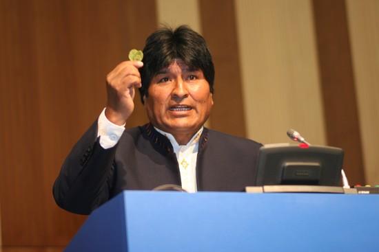 Evo Morales a lístek koky