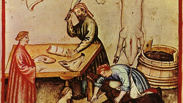 Středověké řeznictví. Ve 14. století se ze zvířete spotřebovalo vše - od masa po krev a kosti.
