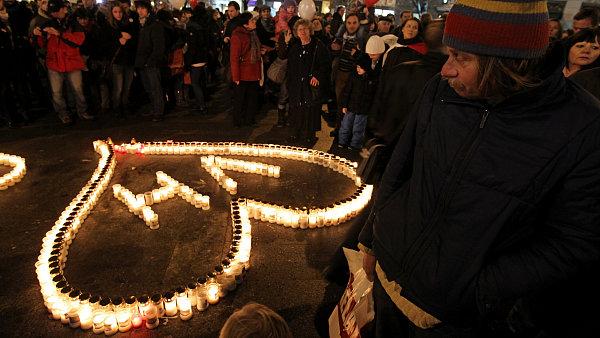 Vzpomínka na Václava Havla na Václavském náměstí.