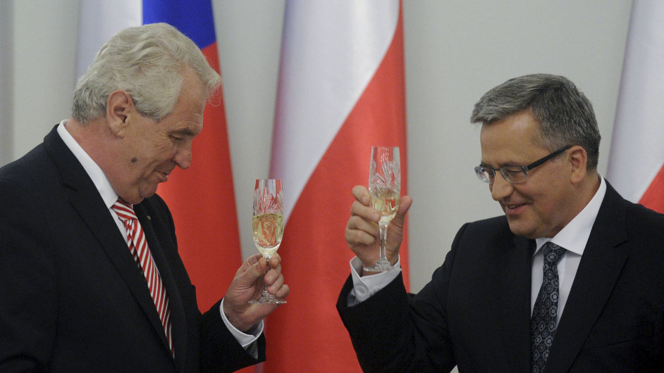 Prezident Miloš Zeman se svým polským protějškem Bronislawem Komorowskim.
