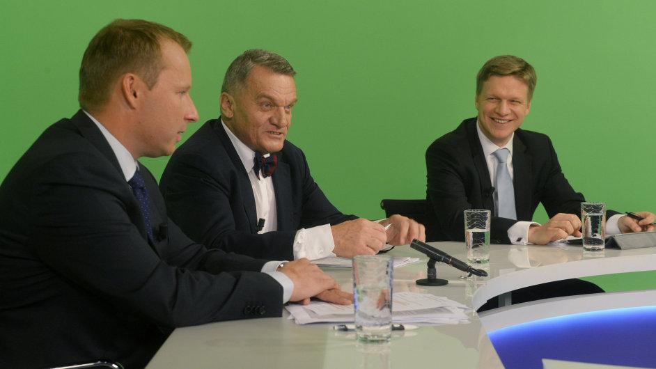 Miroslav Poche (vlevo), Bohuslav Svoboda a Tomáš Hudeček