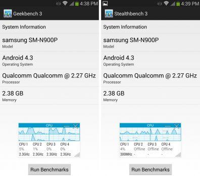 Stejn� benchmark s jin�m jm�nem na Galaxy Note 3