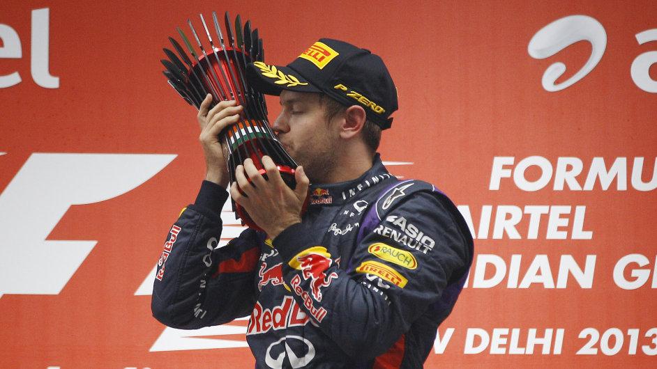 Sebastian Vettel jako vítěz GP Indie a čtyřnásobný šampion formule 1