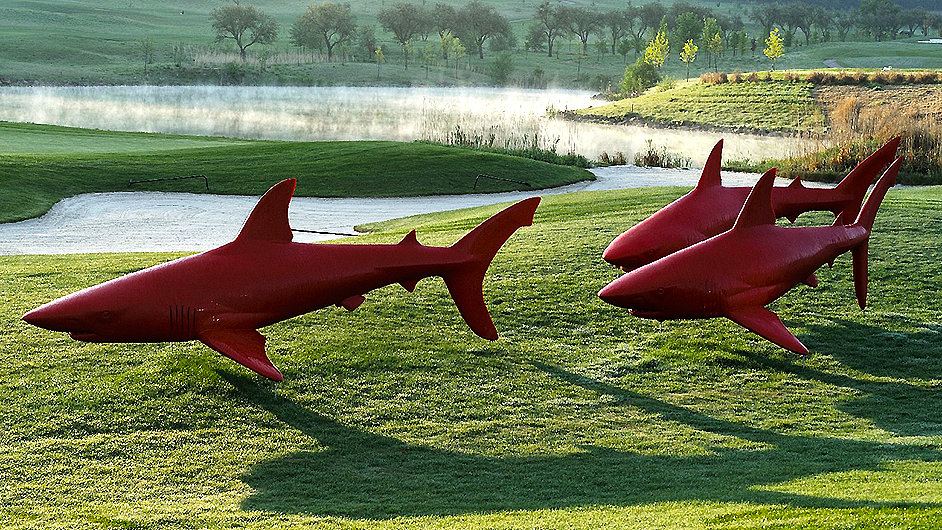 Laminátoví červení žraloci Michala Gabriela na golfovém hřišti
