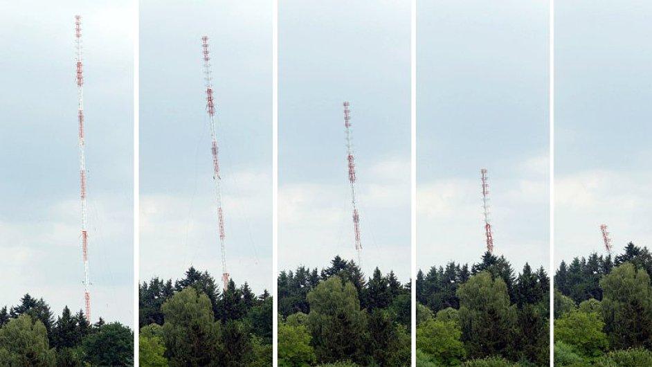 Demolice 160 metrů vysokého rozhlasového vysílače