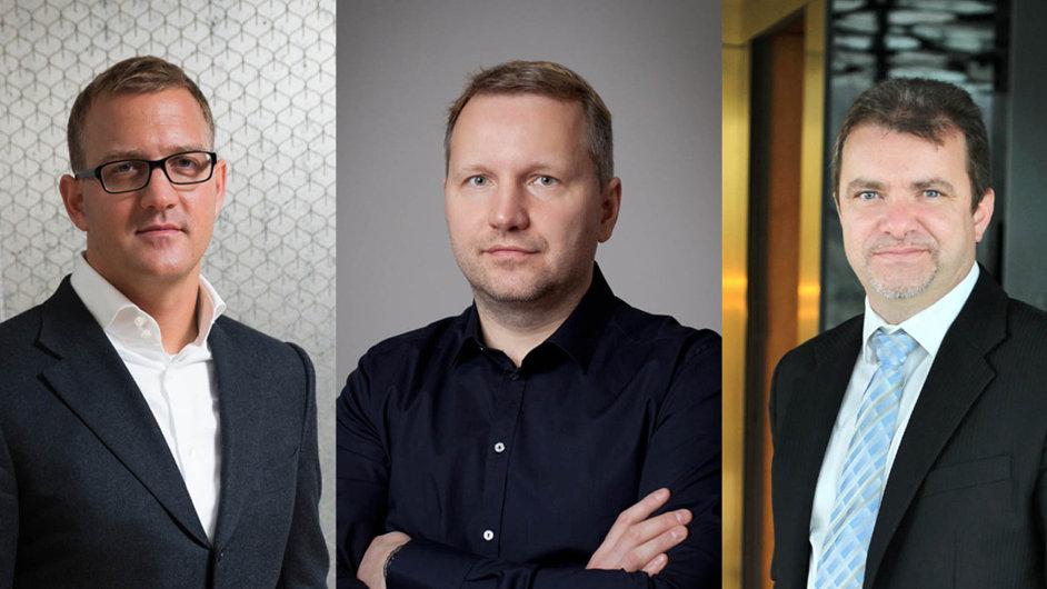 Czech News Center Daniela Křetínského (vlevo) a Patrika Tkáče (vpravo) potvrdila, že chce koupit část vydavatelství Mladá fronta Františka Savova.