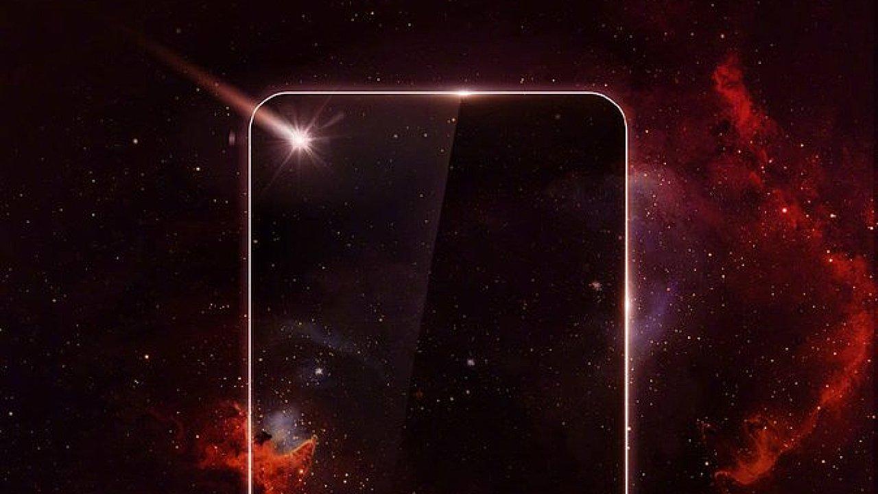 Obrázek lákající na nový telefon Huawei s kulatým výřezem v displeji