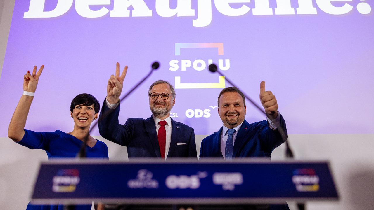 Poděkování lídrů koalice Spolu po zveřejnění výsledků parlamentních voleb 2021.