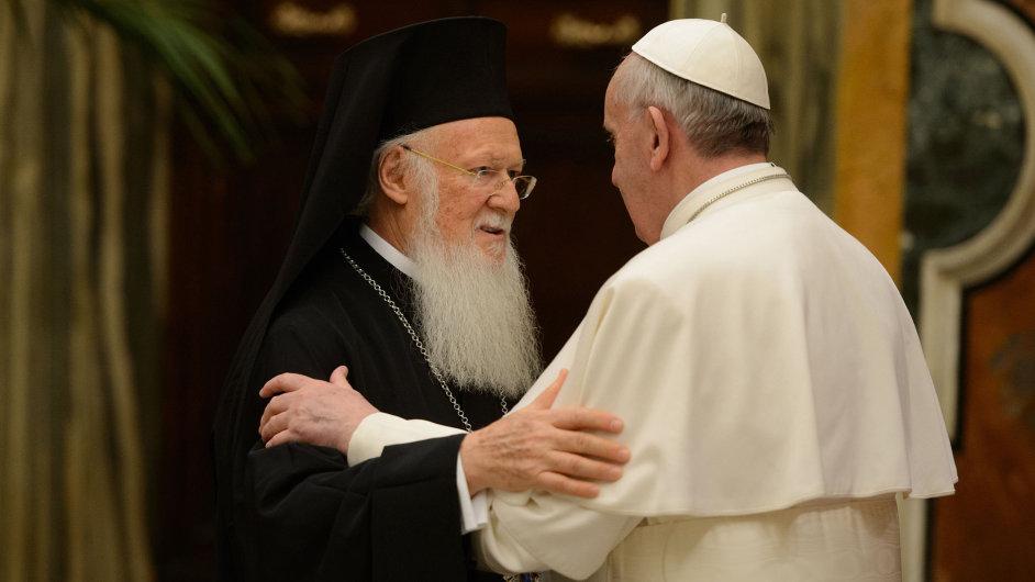Patriarcha Bartoloměj na setkání s papežem Františkem