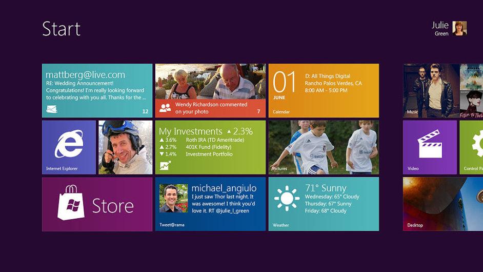 Úvodní obrazovka Windows 8 na tabletu